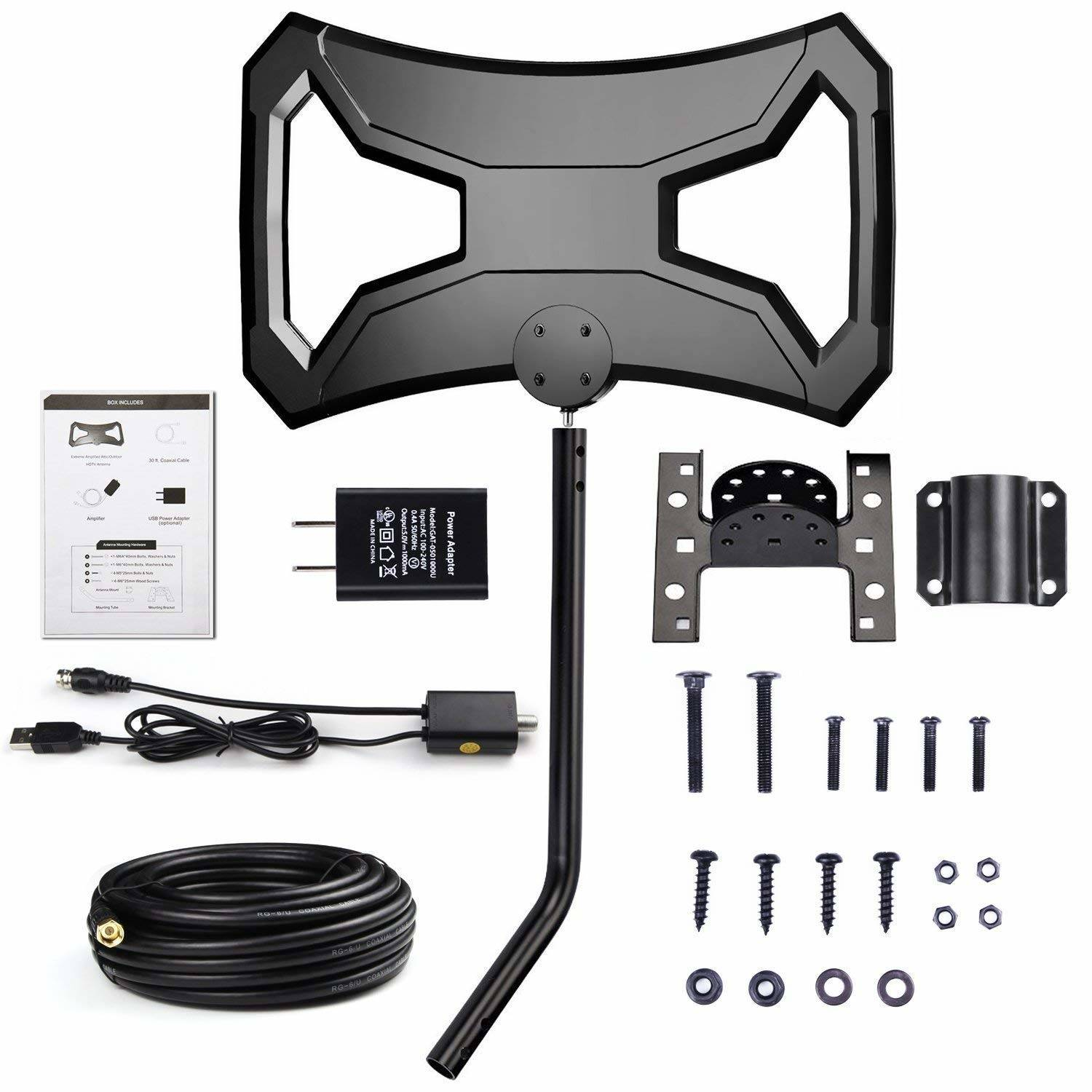 Anti-UV Digital Antenna Long Range Multi-Directional Reception Antenna with Pole Mount for 4K FM//VHF//UHF Free Channels Attic,RV Used Efind 150 Miles Amplified HDTV Antenna Outdoor Waterproof